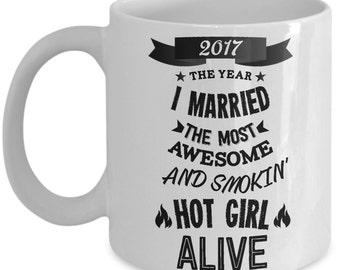 Wedding Gifts For Groom - 2017 The Year I Married Mug - Funny Groom
