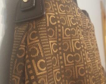 ON SALE, Liz Claiborne Purse, Liz Claiborne Bag, Shoulder Bag, Brown and Gold, Fabric Purse, Small Purse, Vintage Handbag, Monogram Purse