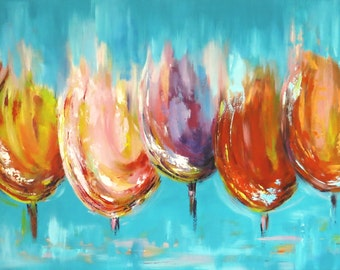 Large Painting Original Abstract Tulip Painting Turquoise flowers painting Tulips Wall decor Modern Art Acrylic Painting Fine Art on Canvas
