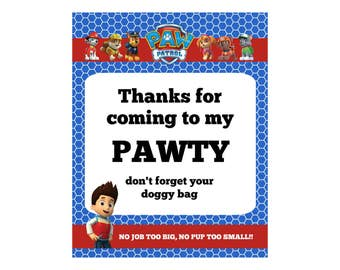 Thanks For Coming to my Pawty Paw Patrol  Printable