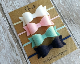 Baby bow headband, bow headband set, felt bow headband, Newborn headband, girl bow headband, navy blue bow headband, set of 4 bows headband