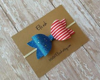 """READY TO SHIP, Fourth of July bow headband, hair clip, bow headband, baby-girl bow headband, 4"""" hair bow, blue glitter bow headband"""
