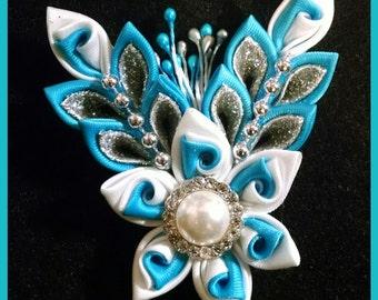 Kanzashi flower brooch, kanzashi flower hair bow
