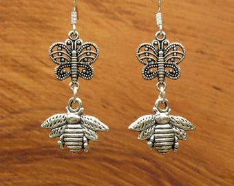 Handmade Silver Bee and Butterfly earrings. 925 Sterling Silver hooks. Gift bagged & Tagged.