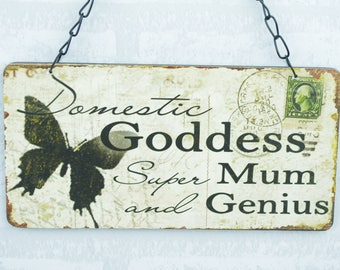 Plaque Domestic Goddess Mum and Genius Mothers Day Mum Gift Sign SG1152