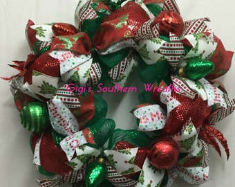 Christmas Deco Mesh Wreath, Red and Green Wreath, Holiday Wreath Christmas Decor Christmas Wreath for Front Door 142