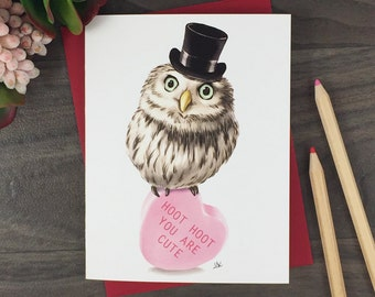 Owl Blank Greeting Card | Owl Valentines Card | Owl Mothers Day Card | Owl Birthday Card | Owl Christmas Card | Owl Birthday Gift | Owl Card
