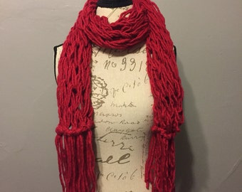 Arm Knit Fringe Scarf, Cherry Red, Women's scarf, Winter scarf