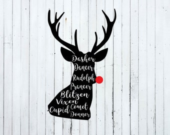 Reindeer svg, Christmas svg, christmas svg files, christmas cut files, deer names, reindeer names svg, rudolph svg, red nose svg, prancer