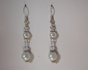 In wedding White Pearl glass Pearl Earrings