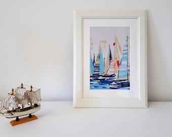 Textile Art Handmade Decorative Regatta Fabric Picture White Frame.