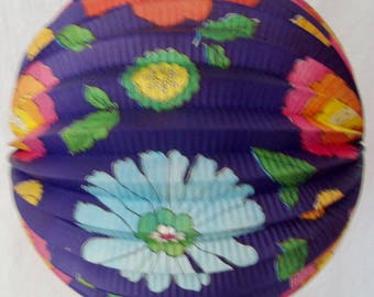 """Vintage 1950's Collapsible Japanese Floral Design Paper Globe Candle Lantern in Festive Colors 9"""" Diameter"""