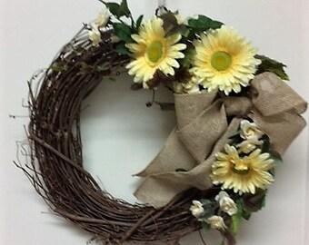 Summer Wreath – One of a Kind Wreath – Yellow Daisy Wreath – Burlap Bow Wreath – Rose Wreath – Spring Wreath – Gift for a Friend