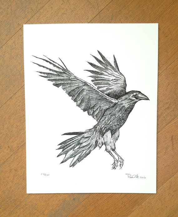 Crow hand printed on 100% cotton paper