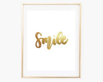 REAL GOLD FOIL Smile Print // 8x10