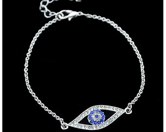 Rhinestone Evil Eye Bracelet   Silver Hamsa Bracelet Evil Eye Bracelet Hand of Fatima Boho Jewelry Jewellery Kabbalah Gift Silver Bangle