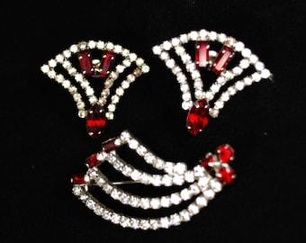 Art Deco Rhinestone Demi-Parure: Brooch & Earrings