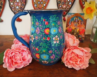 Hand Painted Kashmir Gypsy Enamelware Hippie Shabby Chic Glamping Vase Jug