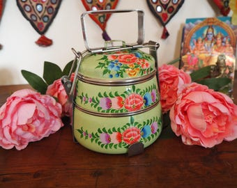 Hand Painted Kashmir Floral Gypsy Enamelware Hippie Shabby Chic Glamping Picnic Tiffin