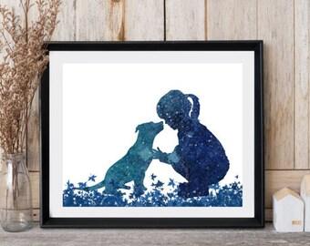 Girl with dog print Pit bull print Nursery wall decor Girl silhouette Dog art Watercolor Girly greeting card Girls gift Animal print art