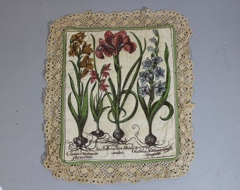 Vintage Iris Bulbosa Flore Diluto Coeruleo botanical flower gardener pillow sham or wall tapestry with lace trim