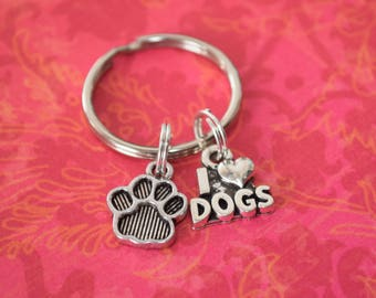 I love dogs keychain-dog lover gift, gift for pet owner