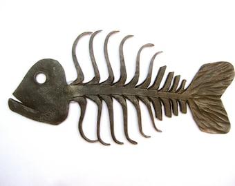 Brutalist Artisan Cast Iron Fish Wall Sculpture
