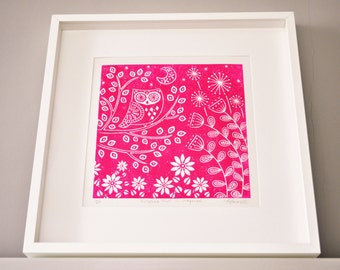 Kristina Owl in magenta, limited edition linocut print