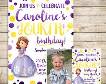 Sophia the First Birthday Invitation | Watercolor Sophia the First Invitation