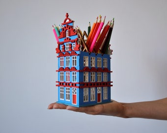 Haarlem wooden house / miniature architecture / home decor model / penholder