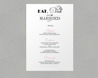 Eat Drink and Be Married Wedding Menu Personalised