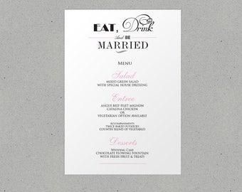 Eat Drink and Be Married Wedding Menu Personalised