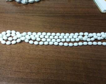 Vintage White Plastic Bead Necklace Boho Kitsch Retro - Unusual Balkan Piece - Vintage