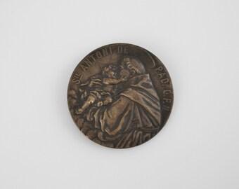 Vintage St. Anthony of Padua Round Brass Medallion - Pray for Us Saint Anthony (SD399)