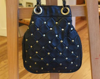 STUDDED BAG w Brass Chain · Black Leather Bag · Warehouse · Evening Bag