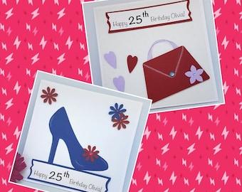 Personalised Ladies Age Birthday Card Handbag Shoe flowers hearts For Her Handmade BD67