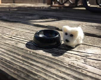 Tiny felted westie dog