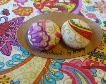Paisley Passion/Fabric Button Covered Earrings/Nickel Free