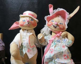 """Just in time for Easter! Vintage Annalee Dolls 18"""" Easter Parade Boy and Girl Rabbit- Bunny Couple- She Has Umbrella He Has Cane! Too Cute"""