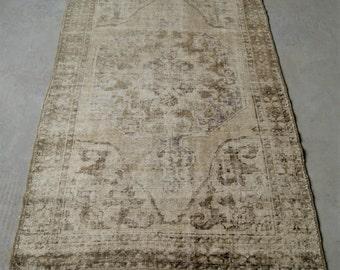 4'2''x7'5'' Handmade Oushak Rug, Turkish Distressed Rug, Vintage Area Rug
