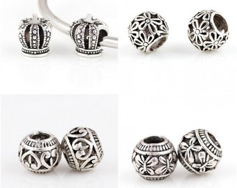 Charm Central Silver Tone Spacer Charms - Eight Charm Beads for Charm Bracelets - Fits Pandora Bracelets