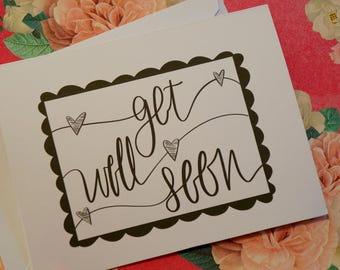 Get Well Soon Curvy Border - Greeting Card