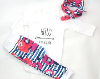 Baby girl coming home outfit, newborn girl outfit, newborn coming home outfit, baby poppy outfit, baby leggings, baby headband, summer baby