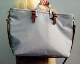 Waxed canvas tote bag with leather shoulder strap, closure leather straps, waxed canvas tote bag, weekender bag, charcoal bag