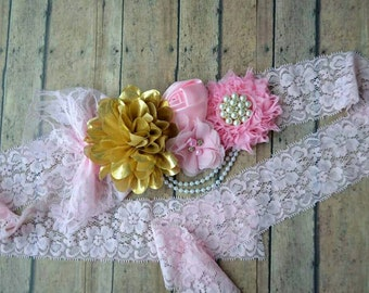 Pink and gold maternity sash - pink girl maternity sash - baby shower mom sash - gold and pink maternity pictures sash - new mom gift
