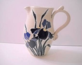 Pottery Pitcher with Blue Flowers