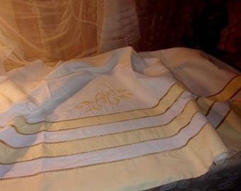 beautiful backhand of old cloth, with a large Monogram AC