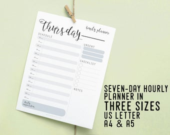 Daily Hourly Planner, Printable Instant Download, Daily Agenda, Productivity Planner, DIY Planner, To Do List, Daily Goal, Daily Schedule