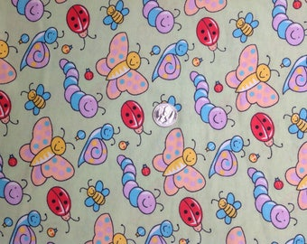 Butterflies Bugs Snails Lady Bugs Bees and Catipillars on Green Quilt Baby Blanket Novelty Kids Girls Boys Flannel Fabric - Sold by 1/2 yd