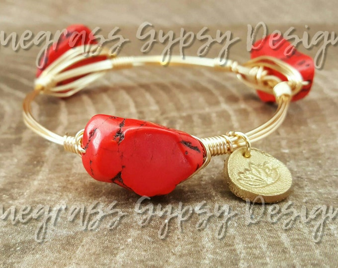 Small Red howlite gemstone Wire Wrapped Bangle, Bracelet, Bourbon and Boweties Inspired